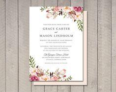 Florales de la boda tarjeta de invitación por vintagesweetdesign