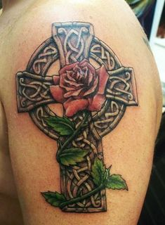 Simple and Detailed Celtic Cross Tattoos (14)