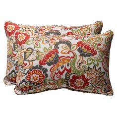 """Outdoor 2-Piece Lumbar Toss Pillow Set - Green/Off-White/Red Floral 24"""""""