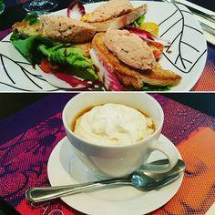 Choc des saveurs dans les entrées de notre menu du jour à #lacloseriedijon Rillettes de saumon à l'aneth et bouquet croquant ou Cappuccino de châtaigne et mousse cardamome ? #dijon #bourgogne #restaurant #food
