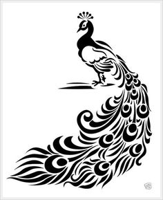 Peacock stencil. Be cool to paint a peacock color combo on canvas and stencil this on in an accent color.