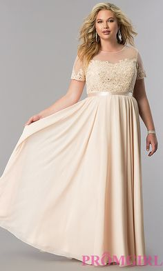 1a426b26ee7 Image of plus-size long formal dress with sleeved sheer bodice. Style   DQ-9710P Detail Image 3