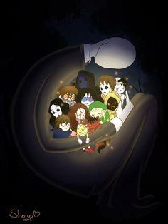 Slender,masky,hoodie,eyeless jack,lost silver,jane,jeff,ben,sally,tails doll,smile dog,clockwork,and ticci toby
