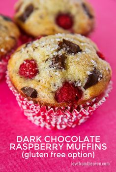 Chocolate Raspberry Muffins.    Traditional and gluten free recipe options. #muffins