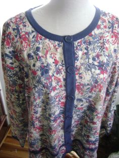C.J. Banks Womens Floral Button Down Cardigan Sweater 1X #CJBanks #Cardigan