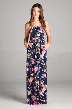 Strapless Maxi Dress in Navy and Pink