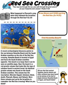 Red Sea Crossing worksheet. Show your children fascinating discoveries that support the biblical account. Free download! Sunday School Games, Sunday School Lessons, Sunday School Crafts, Bible Lessons For Kids, Bible For Kids, Catholic Kids, Kids Church, Exodus Bible, Bible Quiz
