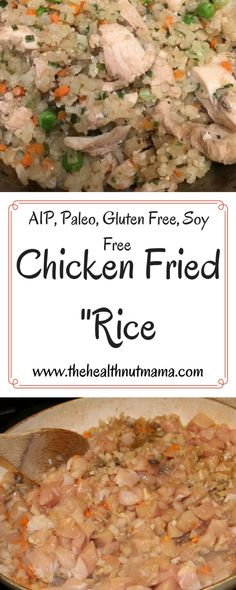 Paleo Chicken Fried Rice is a Quick, Easy & Delicious One Pan Dish that is healthy too! Pack leftovers in a thermos for a hot lunch! Healthy Chicken Recipes, Lunch Recipes, Vegetarian Recipes, Recipes Dinner, Recipe Chicken, Rice Recipes, Potato Recipes, Casserole Recipes, Crockpot Recipes
