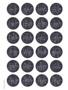 Adventskalenderzahlen - Adventskalenderzahlen ZIFFERN-KNIFFL 40 mm w/s - ein Designerstück von lina-art bei DaWanda Advent Calenders, Diy Advent Calendar, Diy Christmas Gifts, Christmas Time, Xmas, Calendar Numbers, Christmas Inspiration, Printables, Marcel