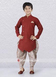 Maroon Art Silk Indo Western For Boys. #rajwadi #kidswear #boys #ethnic #traditional #modern #trendy #fashionable #kidsfashion