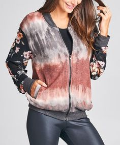 Loving this Gray & Rust Tie-Dye Mesh-Contrast Sweater Knit Bomber Jacket on #zulily! #zulilyfinds