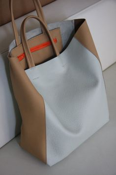 leather tote - light blue and honey brown