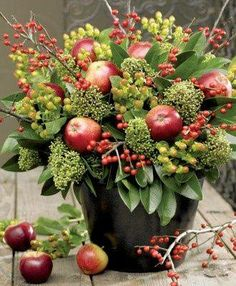 pretty..Brambleberry Cottage. Apple centerpiece arrangement