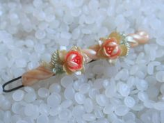 vintage  hair barrette peachy pink with celluloid roses