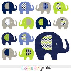 Navy Lime Grey Baby Elephant Digital Clipart - INSTANT DOWNLOAD - Boy Clip Art Commercial Use on Etsy, $5.00