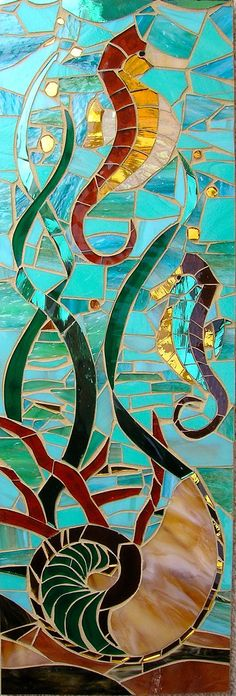 Mosaic Sea Horse and Nautilus Card - Blank Greetings Card - Seahorse Card Nautilus Card - Sea Shell - Sea Creature - Seahorse Wall Art - Stained Glass Projects, Stained Glass Patterns, Stained Glass Art, Stained Glass Windows, Mosaic Crafts, Mosaic Art, Mosaic Glass, Mosaic Tiles, Nautilus