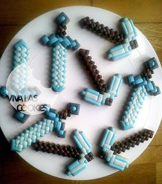 Diamond sword and pickaxe Minecraft cookies made by www.vivalascookies.com