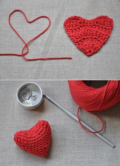 Crochet hearts. Could be cute to use in a Valentine's Day... thing. I don't know. They're cute. #DIY #crochet #yarn