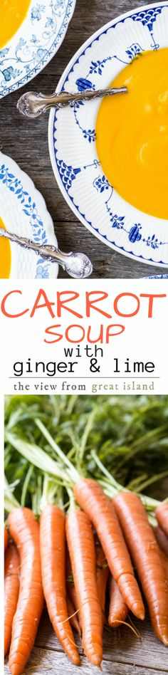 Carrot Soup with Ginger and Lime ~ this simple soup is like a burst of sunshine, with a bright flavor and a cheering color ~ that extra dose of beta carotene doesn't hurt either! | appetizer | healthy | vegetarian | vegan | whole 30 | Paleo | Easter | Passover | Spring |