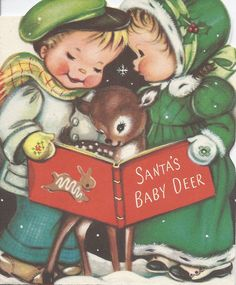 Vintage Christmas Greeting Card by Norcross of Children