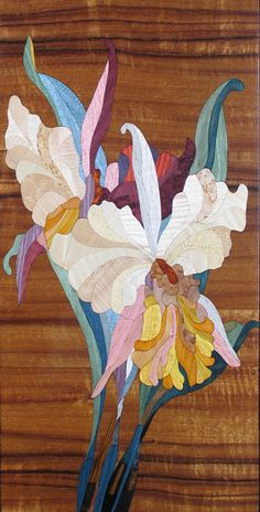 "Kalman Radvanyi - ""Maui Orchid Flower"" intricate inlaid wood marquetry art available at Lahaina Galleries 