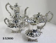 A very good quality, antique English, sterling #silver 4 piece tea & coffee service in the Melon pattern. Made by the renowned Barnards family of silversmiths – Edward, Edward Junior, John & William Barnard. Decorative Objects, Decorative Bells, Coffee Service, English, Architectural Elements, Teacup, Tea Set, Flatware, Antique Silver