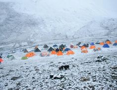 The Stok Kangri basecamp battered by a snowstorm