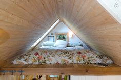 Airbnb tiny house in Olympia, WA   A full sized bed in the loft with a skylight above for stargazing, kitchen, and bathroom for $80/night