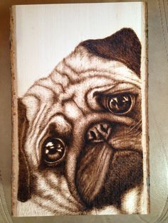 Items similar to Pug dog woodburning on Etsy Wood Burning Crafts, Wood Burning Patterns, Wood Burning Art, Wood Crafts, Ed Wood, Wood Art, Woodworking Workshop, Woodworking Crafts, Woodworking Shop