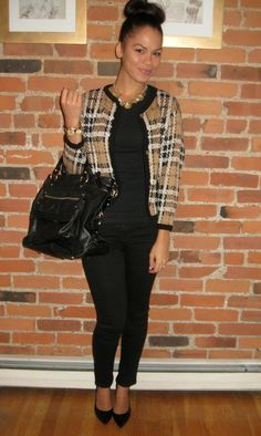 classic look - black, tote, statement jacket
