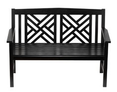 Fretwork Outdoor Wooden Bench in Black
