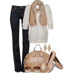 Casual cream tan jeans #fall