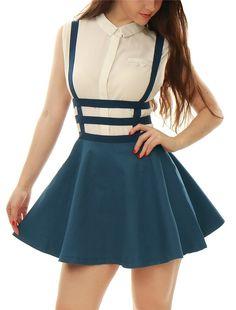 Allegra K Women Elastic Waist Cut Out Suspender Skirt Blue XS