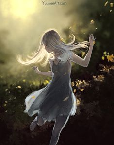 Dance with the wind by Yuumei art Anime Art Girl, Manga Art, Anime Girls, Kaori Anime, Yuumei Art, Estilo Anime, Anime Scenery, Comic Artist, Aesthetic Anime