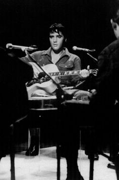 """NBC Studios, Burbank, CA, end of June 1968 - Elvis with his Gibson J200 guitar during the sit down show rehearsal for the """"SINGER PRESENTS ELVIS"""" Comeback Special which aired on December 3, 1968 on the NBC television network (Thnx to Anthony King who uploaded this beautiful shot to the ELVIS PICTURES group on fb.)"""