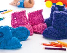 Ozzie, Piper & Blake Booties - Free Knitting Patterns - Kids Patterns - Let's Knit Magazine