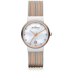 Skagen Ancher Two Tone Striped Stainless Steel Mesh Women's Watch (73.865 CRC) ❤ liked on Polyvore featuring jewelry, watches, water resistant watches, mesh jewelry, skagen watches, mesh watches and skagen jewelry