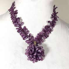 """Rare Vintage Authentic MIRIAM HASKELL Purple Poured Glass Necklace Stamped 21"""" #MiriamHaskell"""