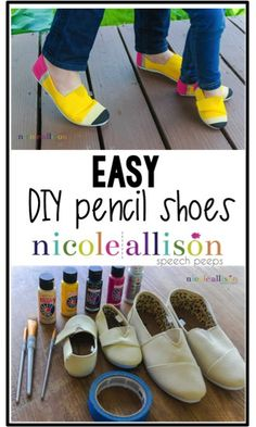 DIY Pencil Shoes - Speech Peeps Easy DIY Pencil Shoes to add to your teacher clothing and accessories!Easy DIY Pencil Shoes to add to your teacher clothing and accessories! Teacher Shoes, Teacher Wear, Teacher Style, Teacher Gifts, Art Teacher Outfits, Teacher Fashion, Teacher Party, Student Teacher, Work Outfits