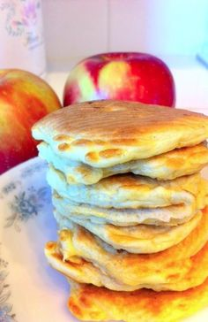 Apple Cinnamon Protein Pancakes! 1/4 cup oatmeal; 1 whole egg; 3-4 egg whites; 1 scoop Vanilla protein powder (about 6 tablespoons in 30g of powder); half a chopped apple; a dash of cinnamon