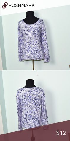 Gorgeous Purple Paisley Print Long Sleeve Shirt In excellent condition! Very comfortable, soft, and flattering! Buy 3 items and get 1 free plus 15% off your purchase total! Tops