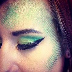 Halloween makeup idea...snake something? use fishnet stockings and lightly sponge paint over