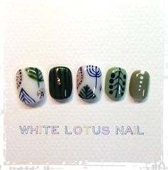 blue, green & peach abstract nail art manicure