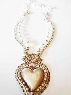 Vintage Upcycled Assemblage Necklace The Sacred Heart of Bling via Etsy.