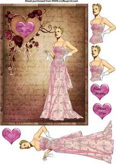 lady in pink on Craftsuprint designed by Cynthia Berridge - a quick card with vintage lady to decoupage - Now available for download!