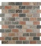 MS International 1 in. x 2 in. Mixed Tumbled Bricks Pattern Mesh-Mounted Slate & Quartzite Mosaic Tiles
