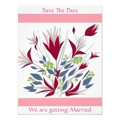 Save The Date Floral wedding stationary Personalized Invitations, save date thank you cards ornaments zazzle.com/artistjandavies*