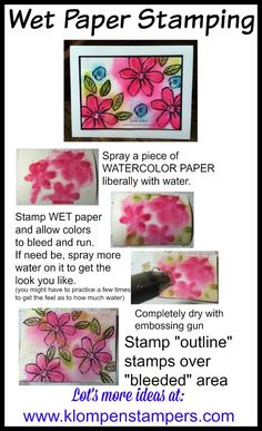 Paper Stamping (Technique) Klompen Stampers (Stampin' Up! Demonstrator Jackie Bolhuis): Wet Paper Stamping (Technique)Klompen Stampers (Stampin' Up! Card Making Tips, Card Making Tutorials, Card Making Techniques, Making Ideas, Making Greeting Cards, Greeting Cards Handmade, Watercolor Cards, Watercolor Pencils, Watercolors