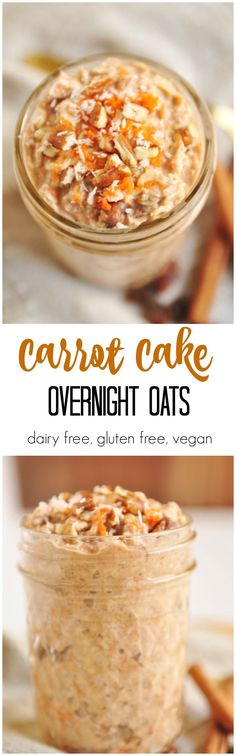 Carrot cake for breakfast? These Carrot Cake Overnight Oats are a simple, hearty way to start your morning. Prep your oats at night and breakfast is ready on the go. Whole Food Recipes, Vegan Recipes, Cooking Recipes, Zoodle Recipes, Milk Recipes, Sweets Recipes, Free Recipes, Desserts, Breakfast Desayunos