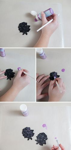 DIY lace earrings ~ so easy and very lightweight! Painted with glitter!!!